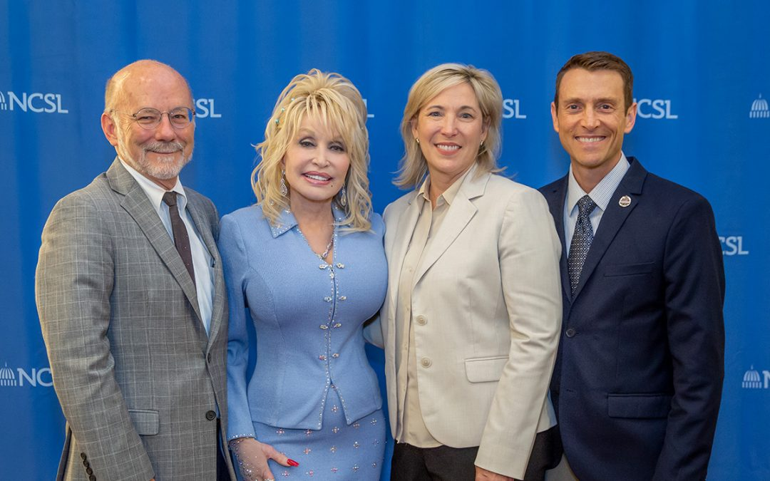 David Dotson, Dolly Parton, Jeff Conyers, Nora Briggs at National Conference of State Legislatures 2019 Summit